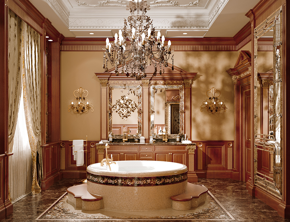 Complete view of the bathroom interior design.