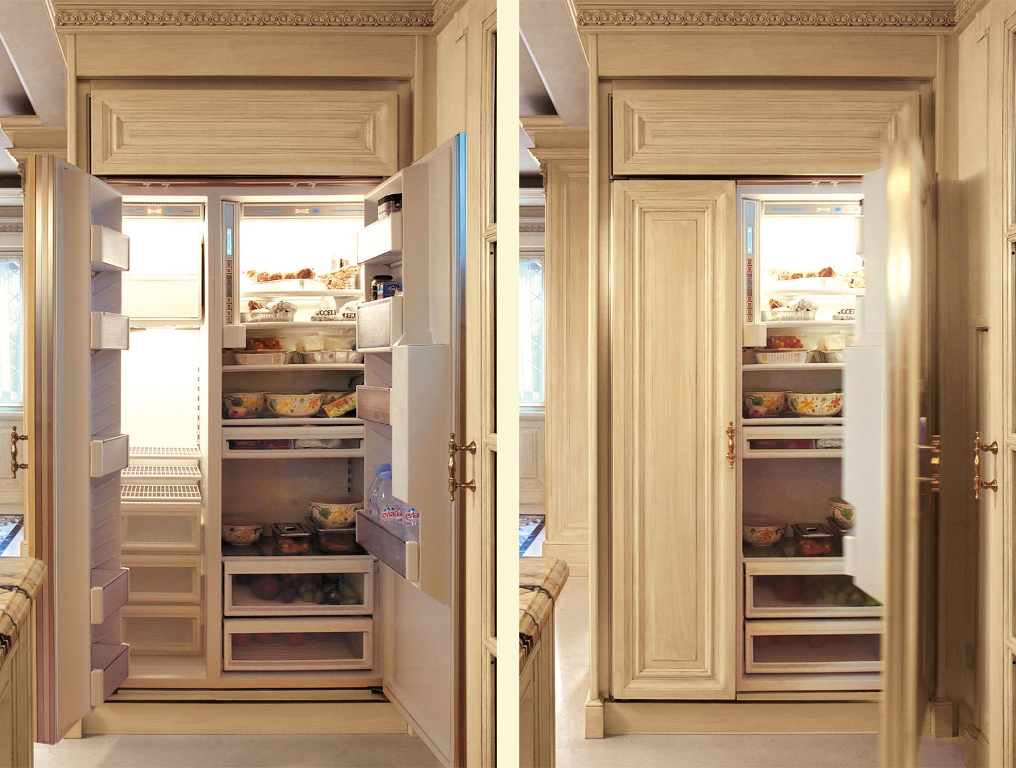 A Subzero fridge with doors that match all other kitchen modules