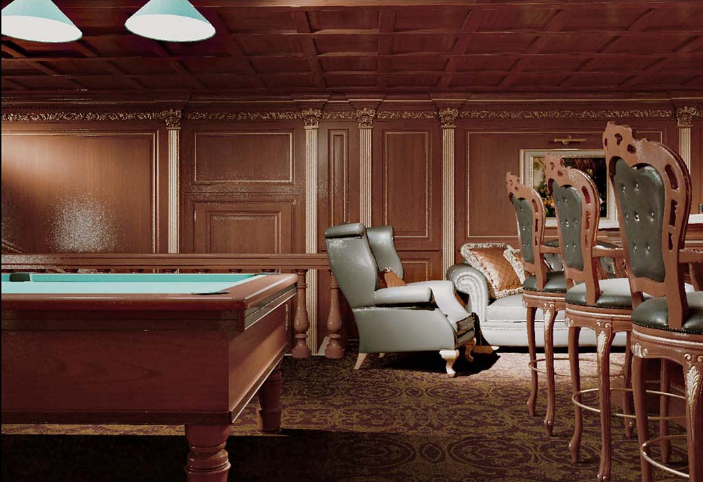 Elizabeth billiard room is equipped with bar zone and seating area