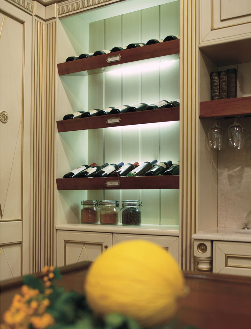 Special shelves designed to hold wine bottles