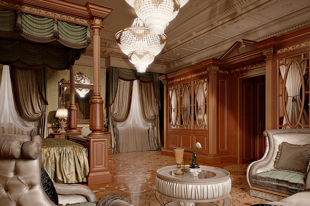 The floors inlaid with polychrome wood, plaster ceilings with decorative elements, furniture complements and fabrics express the luxury of the project.