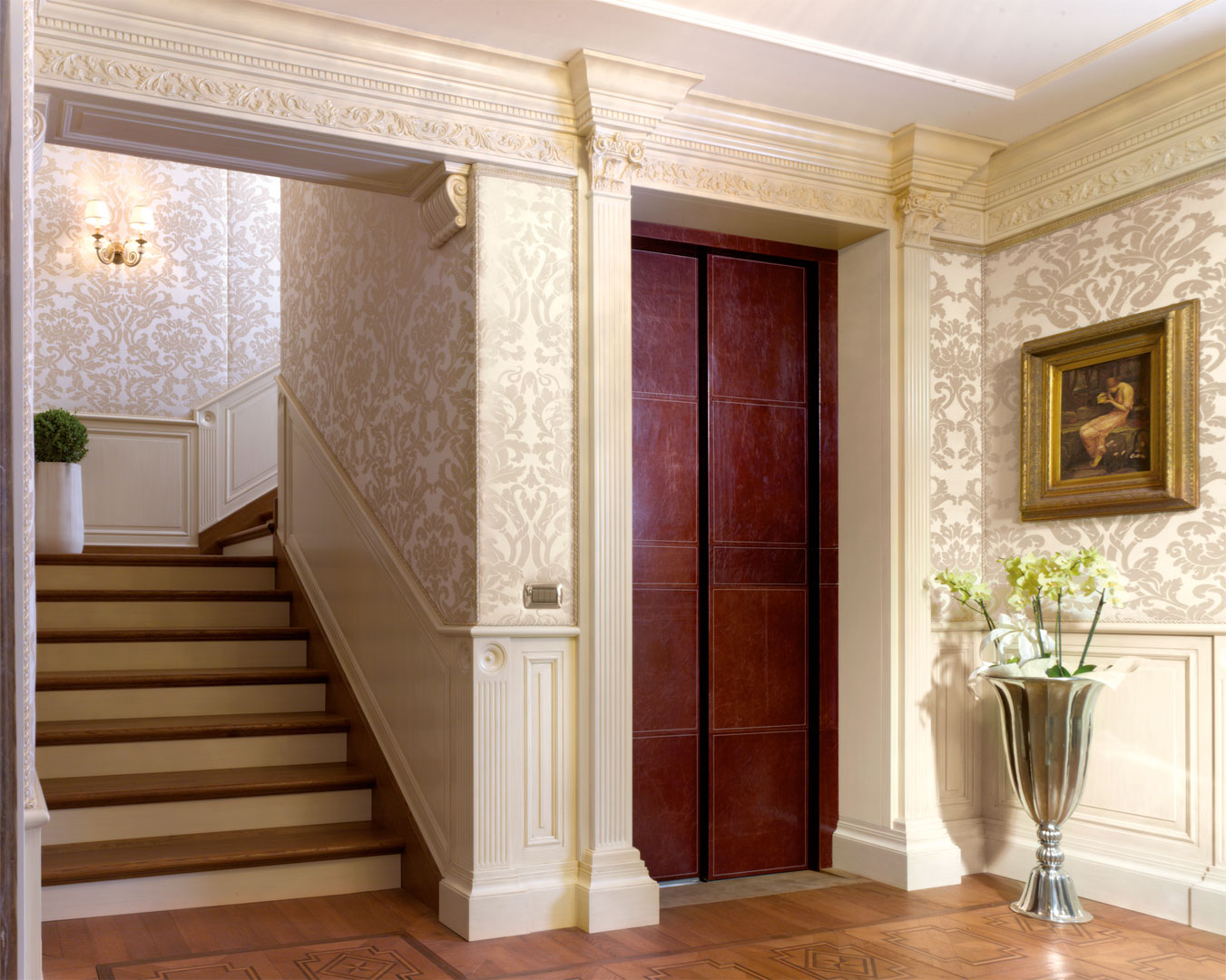 Full height Elizabeth paneling with leather covered door