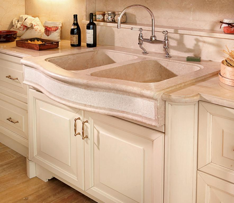 The double sink is made from a single slab of marble