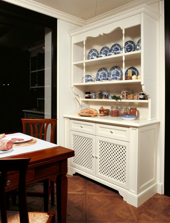 Kitchen cupboard with top cupboard and grating doors
