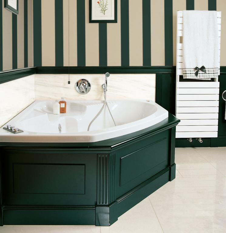 Detail of the corner bath tub and paneling