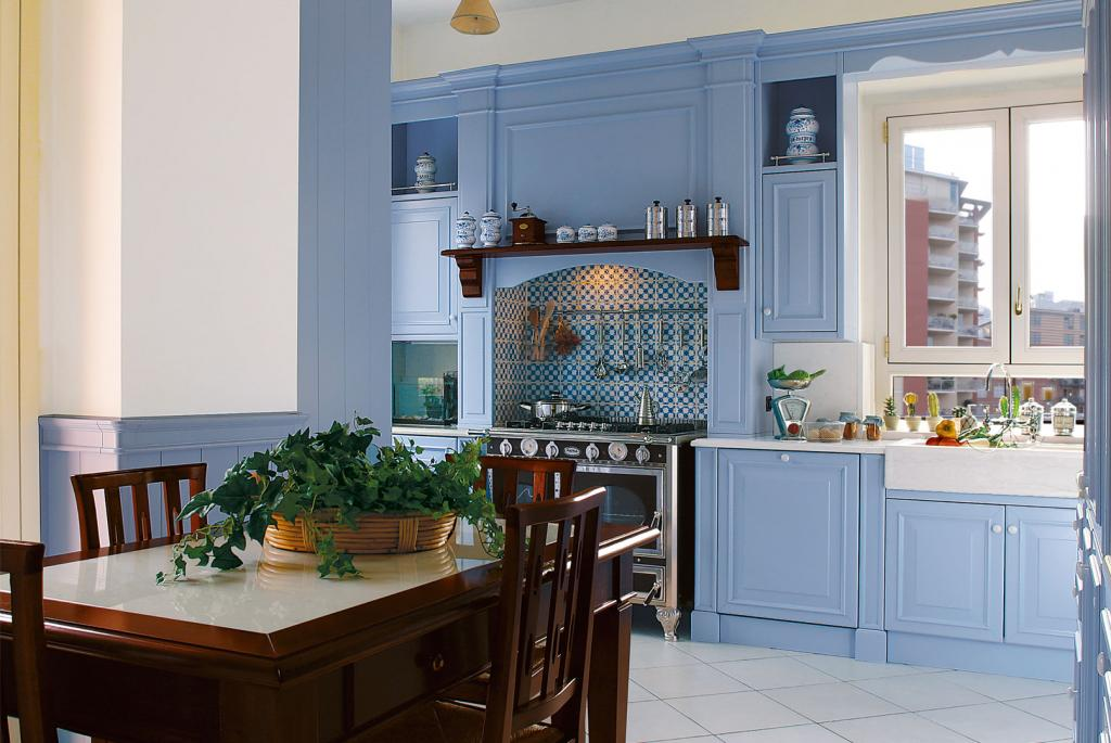 Half height paneling coordinated with Copenhagen sea color kitchen
