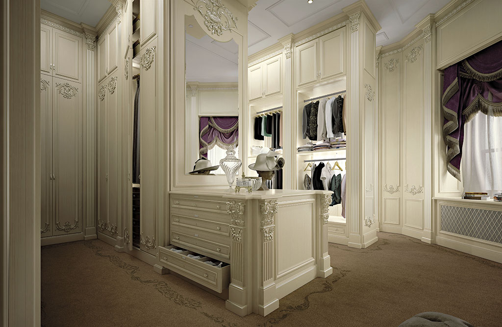 The delicate tones of lacquering and decorations characterize the refined taste and design of the wardrobe.