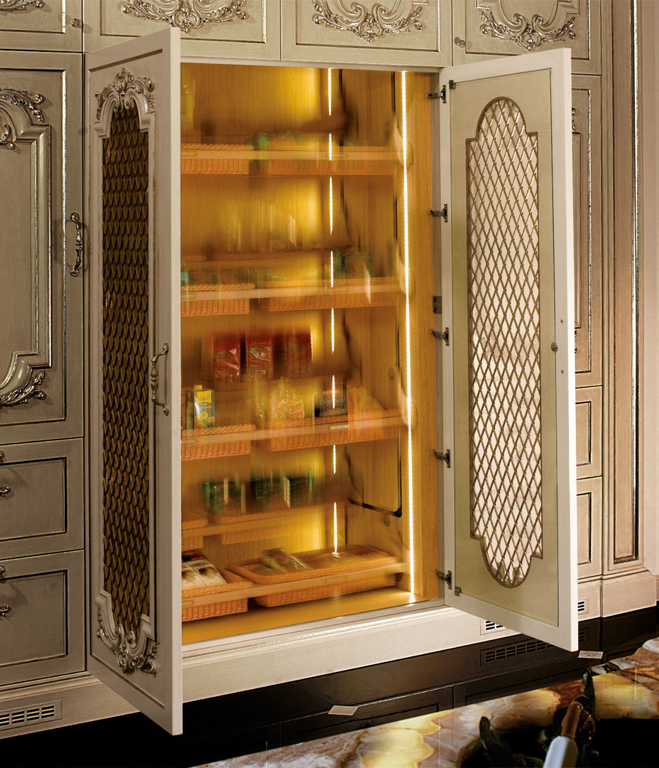 Pantry motorizing system with automatic security stop