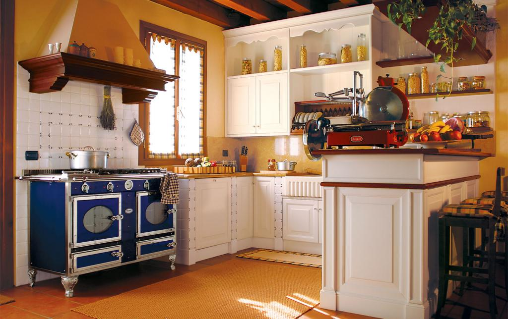 A version of the customized classic kitchen with separating walls