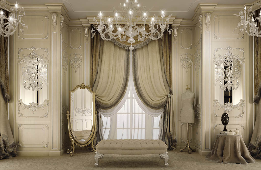 Particular view of the wainscoting with silver leaf decorations at full-height framing mirrors.