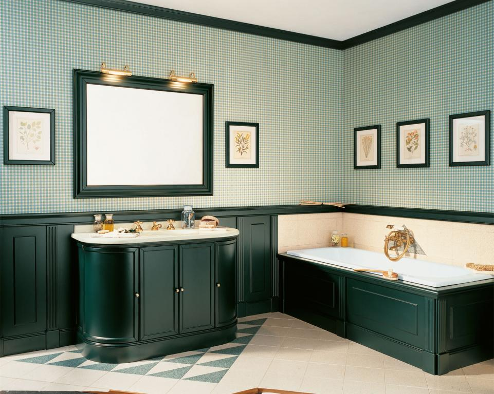 Oxford Double sink furniture in English green with matching low paneling