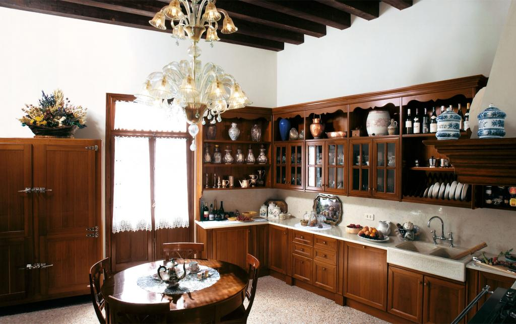 National walnut kitchen with simple classical doors