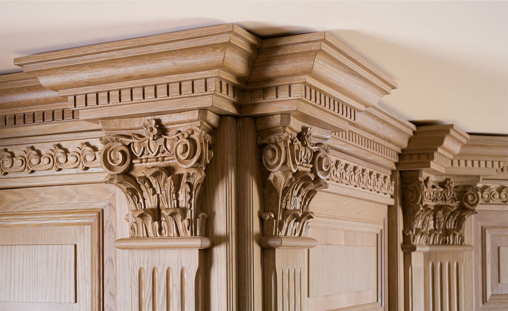 Detail of solid oak hand carved capitals
