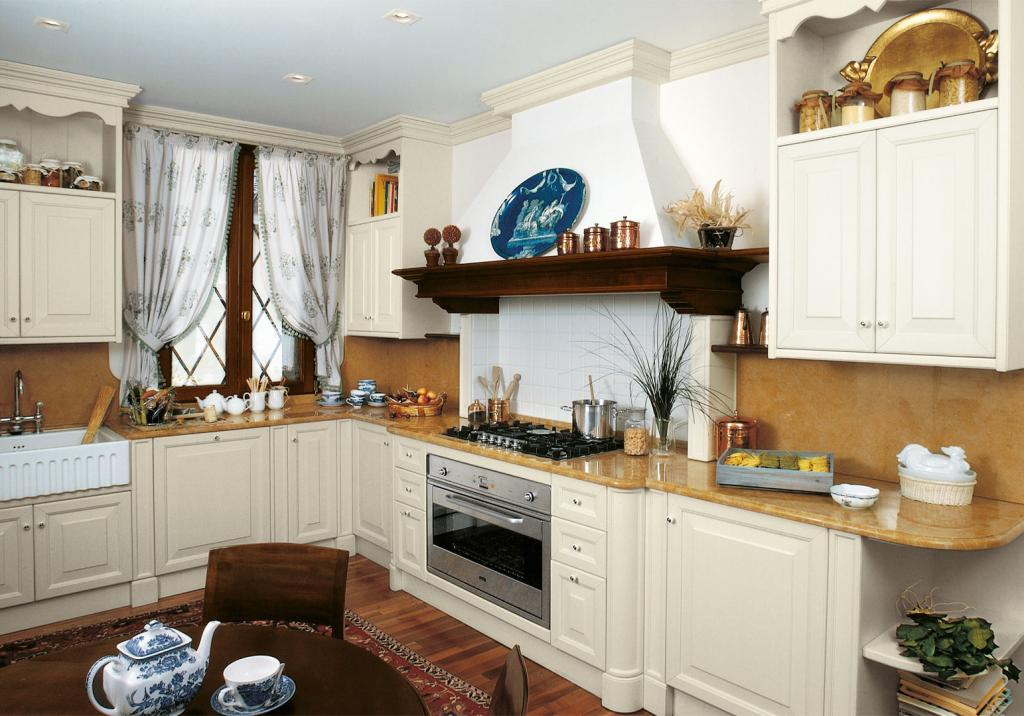 A classic solution with solid walnut table and marble kitchen top